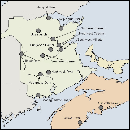 Location of sites on a map of the Maritimes